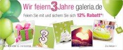 Kaufhof: 3 Jahre Galeria = 12 Prozent Rabatt auf Alles für nur 3 Tage