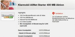 Klarmobil: 100 Minuten / 100 SMS / 400MB Internet für 5,95€ / Monat @handyflash.de