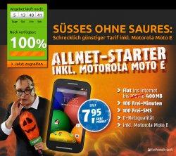 Klarmobil Allnet Starter (Vodafone) 100 Min. 100 SMS 400MB Internet + Motorola Moto E für 7,95€/mtl.