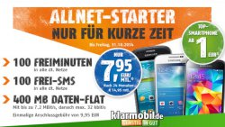 Klarmobil: Limitiert :100 Min. alle Netze, 100 SMS, 400 MB Internet, Samsung Galaxy S3 Mini 7,95€ im Monat !