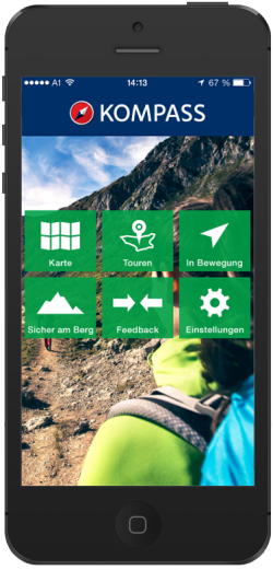 KOMPASS-Karten Touren-App mit integriertem Live-Tracking: eine kostenlose Wanderkarte mit Gutscheincode. Android und iOS