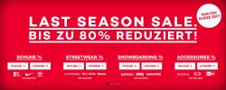 Last Season Sale mit bis zu 80% Rabatt auf Schuhe, Streetwear, Snowboarding und Accessoires @Planet-Sports