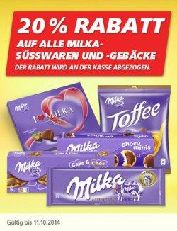 [LOKAL] 20% Rabatt auf alle milka Produkte bei Real bis zum 11.10.14