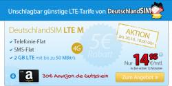 LTE M Tarif für 14,95 € dazu 30 Euro Amazon Gutschein @ Deutschland SIM, nur bis 20.10.14