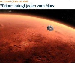 @mars.nasa.gov: Gratis seinen Namen mit der Orion Mission zum Mars senden