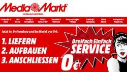 MediaMarkt 3 Fach Aktion: 0,-€ für Lieferung, Aufbau und Anschluss (sonst ab 34,90€)