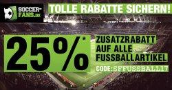 Nochmal 25% Zusatzrabatt auf alle Fußball-Artikel (auch bereits schon reduzierte) @Soccer-Fans-Shop.de!