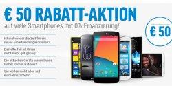 notebooksbilliger.de: 50€ Gutscheincode auf Handys anrechenbar bei Kaufoption : 0%Finanzierung