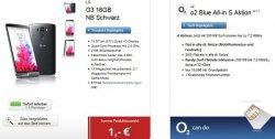 o2 Blue All-in S Aktion Flat in alle dt. Netze, SMS Flat, 300 MB, Festnetznummer für 19,90€/mtl. + LG G3 16GB für 1€ @logitel