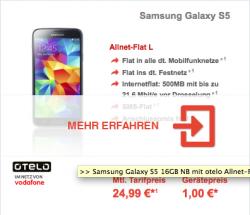 OTELO DEAL: Allnet Flat L 500MB, Allnet Voice & SMS, z.B. Samsung Galaxy S5 für 1€ + 24,99€ im Monat