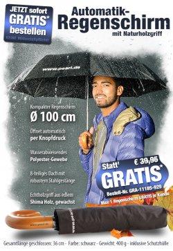 pearl.de: Automatik Regenschirm gratis (nur Versandkosten)