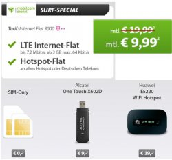 SPECIAL DEAL: 3GB Telekom Internetflat inkl. HotSpot für 9,99 € mtl. @Sparhandy