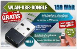 W-LAN USB DONGLE 150 Mbits, GRATIS (statt 14,90 €, nur VSK) @pearl.de