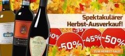 Weinvorteil: Bis zu 50% Rabatt im Herbst Ausverkauf und 3 Gutscheine z.B. 25€ Gutschein (ab 50€ MBW) auch auf reduzierte Artikel anwendbar