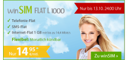 winSim Flat L 1000 für 14,95 €/mtl, monatlich kündbar, Aktion bis 13.10.2014