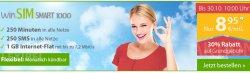 WinSim Smart 1000 Aktion: 1000 MB Internet Flat, 250 Min. telefonieren / SMS nur 8,95€ + monatlich kündbar !