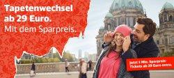 1 Million zusätzliche Sparpreistickets bei der Deutschen Bahn ab 29€ @