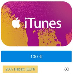 20% auf iTunes Gutscheine bei paypal somit für 100€ Guthaben nur 80€ bezahlen