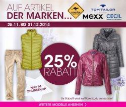 25 % Rabatt auf ausgewählte Marken @ Adler-Onlineshop nur bis zum 01.12.2014