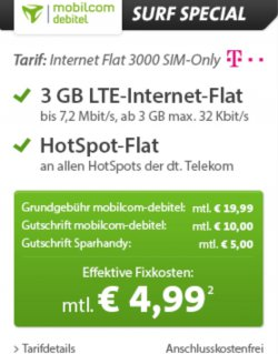 3 GB LTE Internet Flat nur 4,99€ im Monat (Telekom Netz) keine Anschlussgebühr