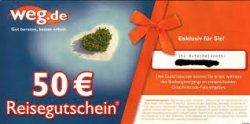 3 verschiedene 50€ Gutscheincodes für weg.de