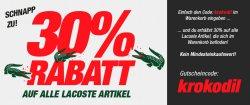 30% auf allles von Lacoste im Tennisshop CenterCourt.de