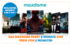 6 Monate maxdome für 15,96 € (pro Monat 2,66 €) statt regulär 47,94 € @Notebooksbilliger