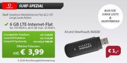 6gb Vodafone LTE Surf-Flat (225MBit/s) für 3.99€ (nur für Junge Leute und Selbständige)