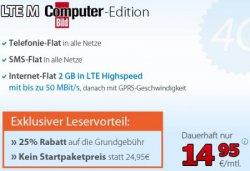 Computer Bild Aktion: DeutschlandSIM LTE M – 14,95€ mtl. (AllNet-Flat mit 2 GB LTE im Netz von O2) KEIN Startpaketpreis!