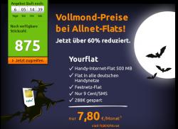 E-Plus Netz: Allnet-Flat, Internet-Flat 500MB  für 7,80 € mtl. statt 19,80 € @Crash-tarife