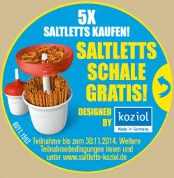 Gratis praktische verschließbare Snack Schale erhalten bei Kauf von 5 Saltlett Produkten