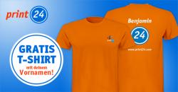 Gratis T-Shirt mit deinem Vornamen oder Ringordner @Print24