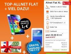 Kotel Angebot im Vodafone Netz: kurze Zeit nur 29,99€ für das S Galaxy S5 (100€Cashback) + S Galaxy Tab 3 + Telefon/SMS Flat + 1GB Internetflat