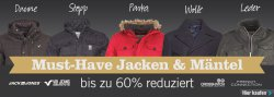 MandM Direct: Bis zu 60 Prozent Rabatt auf über 600 Jacken und Mäntel z.B. Crosshatch Herren Forlocks Jacke für 29,95 Euro statt 39,89 Euro bei Idealo