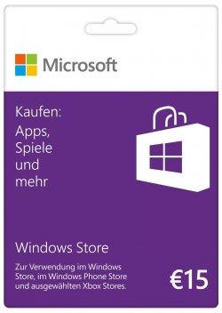 Microsoft Windows Store Gift Card, Guthabenkarte im Wert von 15 Euro @ebay für 11,99€ (idealo: 13,99€)