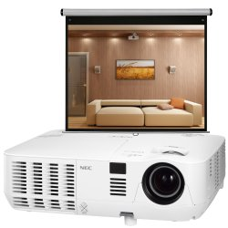 NEC V300W DLP Beamer WXGA inkl. MW Rollo Leinwand 16:10 für 499,90 € (629,80 € Idealo) @Notebooksbilliger