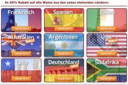 Neue Aktion weinvorteil.de: 50% auf Wein aus u.g. 9 Ländern