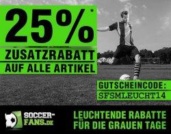 Nochmal 25% Zusatzrabatt auf alle Artikel (auch bereits reduzierte) @Soccer-Fans-Shop.de!