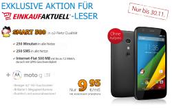 o2 Netz Smart 500 mit Internetflat 500MB, 250 Min. und 250 SMS mit Moto G Lte für 9,95€ mtl. @Deutschlandsim