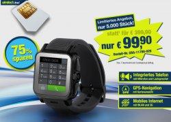 pearl.de: 1.5″ Smartwatch AW-414.Go mit Android 4, BT, WiFi, Cam, 3G nur 99,-€ statt 300€