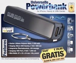 Pearl.de: Li-Ionen Powerbank 00,00€ statt 29,90€ (zzg.Versand)