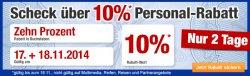 Plus: 10 Prozent Rabatt auf fast alle Artikel mit Personal-Rabatt Gutscheincode