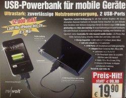 revolt Powerbank 12.000 mAh nur 19,90€ statt Idealo ab 39,90€   @pearl.de