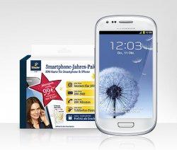 Samsung Galaxy S3 mini inkl. Jahres-Paket (Internet-Flatrate 300 MB + Tchibofon-Flatrate + 200 Min. & 200 SMS in alle Netze) für einmalig 199,00 €