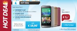 Sparhandy Hotdeal: HTC One mini 2 für 1 €  Zuzahlung + Allnet-Flat S im  D-Netz für nur 19,90 € mtl.