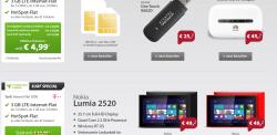 Sparhandy Surf Spezial: z.b Nokia Lumia 2520 inkl 3GB  Telekom-Flat für 9,99€ mtl.