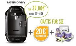 Tassimo VIVY + 20€ Gutschein + gratis Milka-set für 39€ @paypal.tassimo