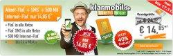 Telekom Netz/Klarmobil Allnet-Spar-Flat (500 MB Datenflat, Flat in alle Netze, SMS-Flat) für 14,85€ mtl. @Handybude
