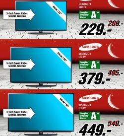 Tiefpreisschicht Samsung bei Mediamarkt so lange der Vorrat reicht, z.B. Samsung UE32H5373 40″ LED-TV für nur 299€