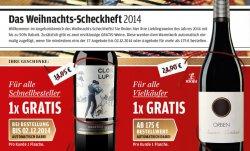 Weihnachts-Scheckheft 2014 @vinos.de 17 Weinangebote bis zu 50% reduziert + GRATIS Weinflasche im Wert von 14,95 €